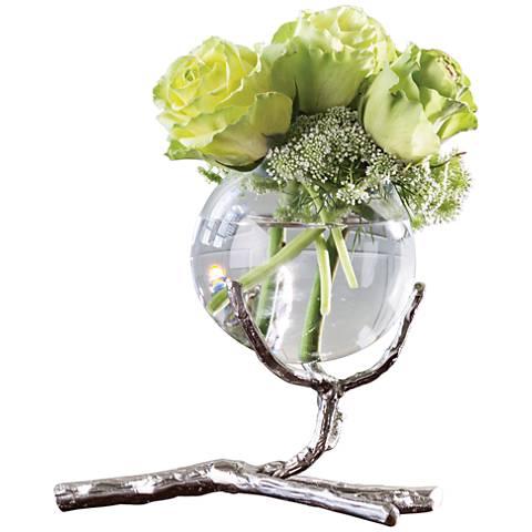 """Limber Nickel 8"""" Wide Twig Glass 1-Vase Holder"""