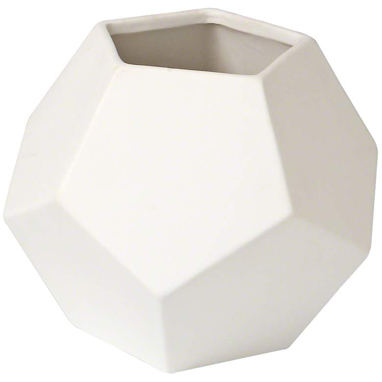"Plateau 10"" Wide White Finish Geometric Ceramic Vase"