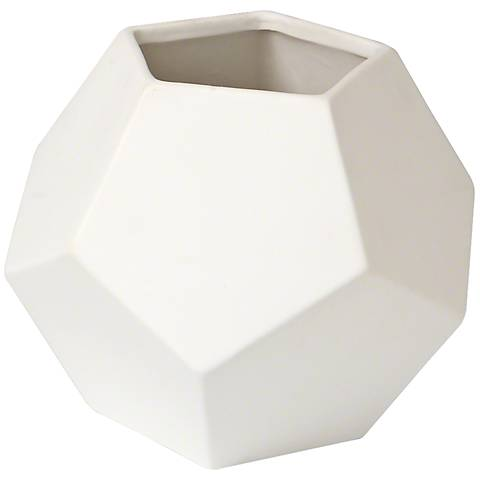 "Plateau Matte White 7"" Wide Faceted Ceramic Vase"
