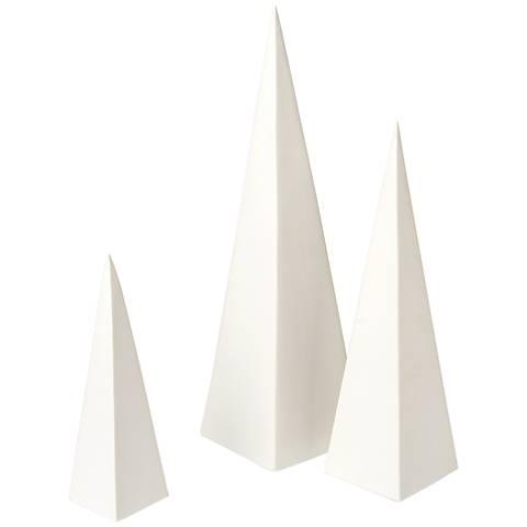 Cairo Matte White 3-Piece Pyramid Ceramic Sculpture Set