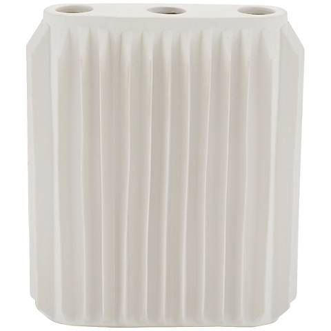 "Andros Matte White 9 1/4"" High Ceramic Vase"
