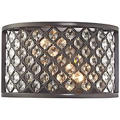Crystal sconces lamps plus genevieve 6 high oil rubbed bronze 2 light wall sconce aloadofball Choice Image