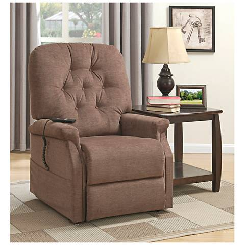 Saville Brown Remote Control Recliner Full Lift Chair
