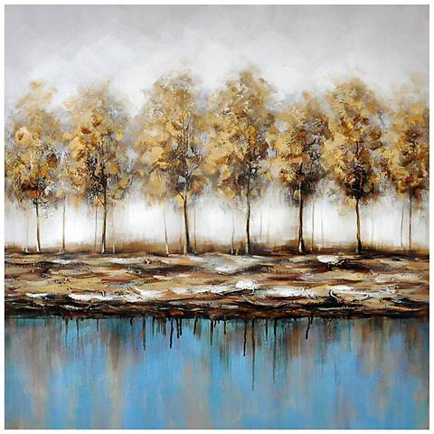 """Tranquil Landscape 39 1/2"""" High Painted Canvas Wall Art"""