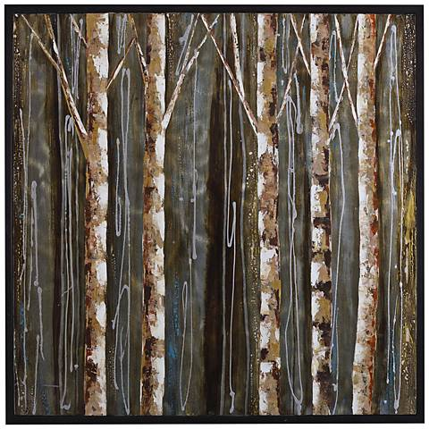 "Birch Setting 40"" High Framed Painted Canvas Wall Art"