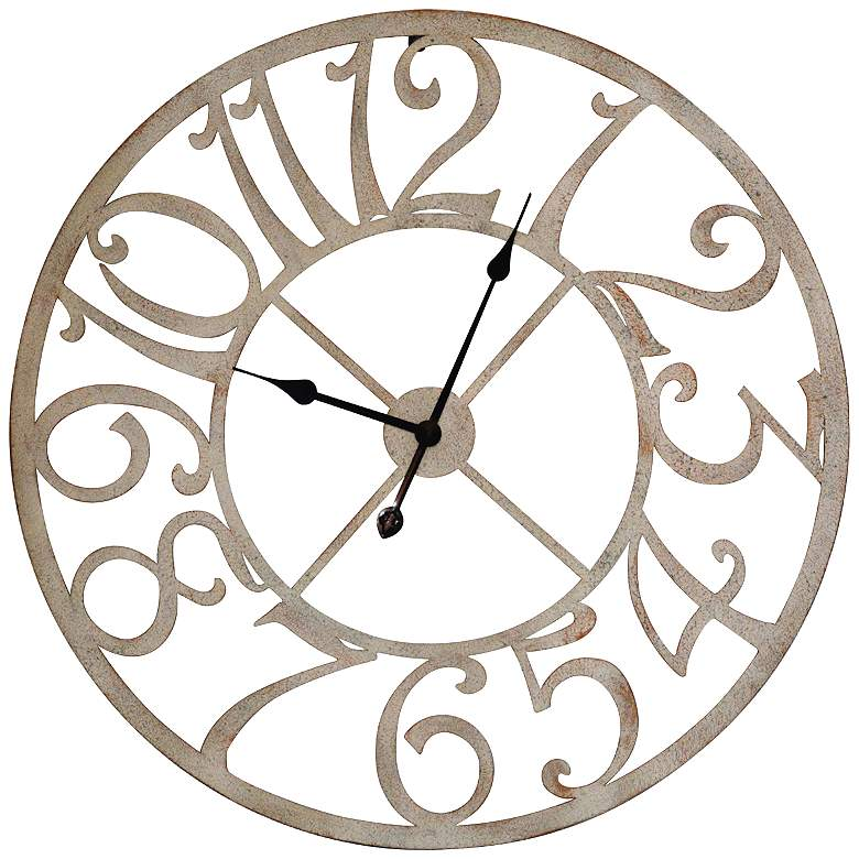 """Crestview Collection Antique White 29"""" Round Wall Clock"""