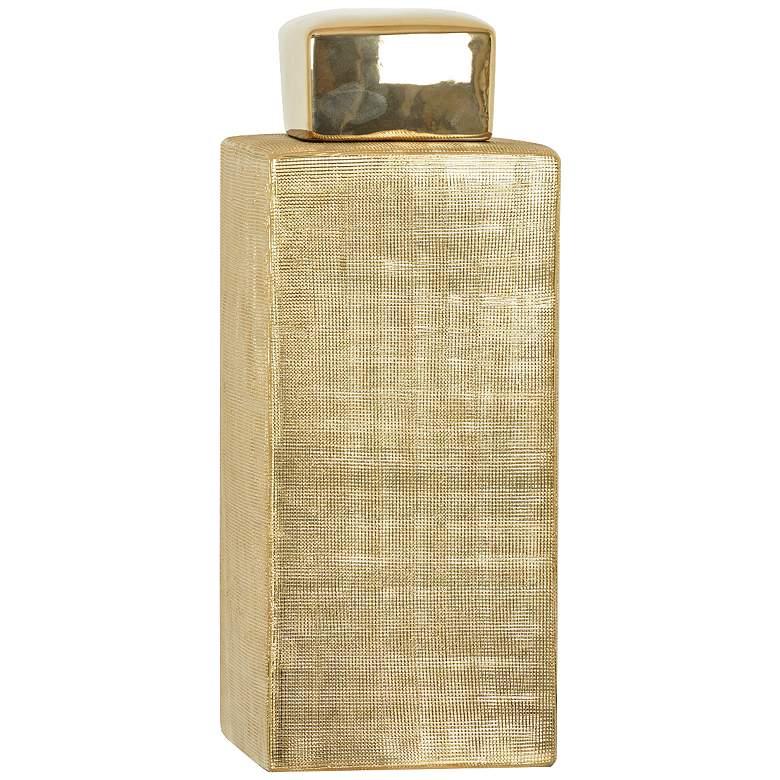 "Crestview Golden Age II Gold 15"" High Ceramic Jar Vase"