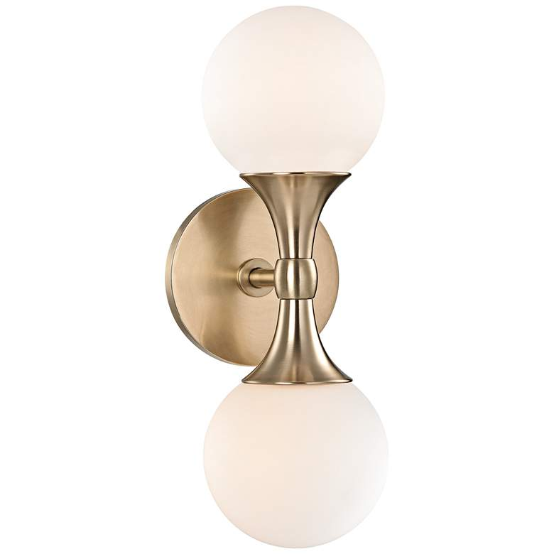 "Hudson Valley Astoria 13 1/2""H Aged Brass LED Wall Sconce"