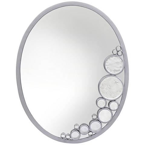 "Fascination Metallic Silver 22"" x 30"" Oval Wall Mirror"