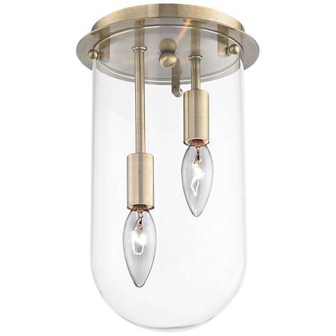 """Lightway 7"""" Wide Antique Brass 2-Light Ceiling Light"""