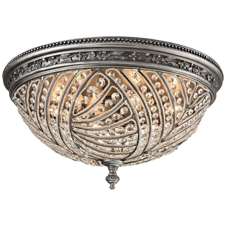 """Renaissance 24"""" Wide Weathered Zinc 6-Light Ceiling Light"""