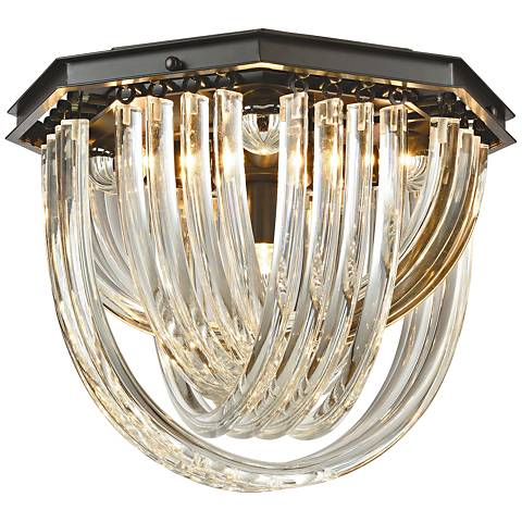 """Optalique 16"""" Wide Bronze and Crystal Ceiling Light"""