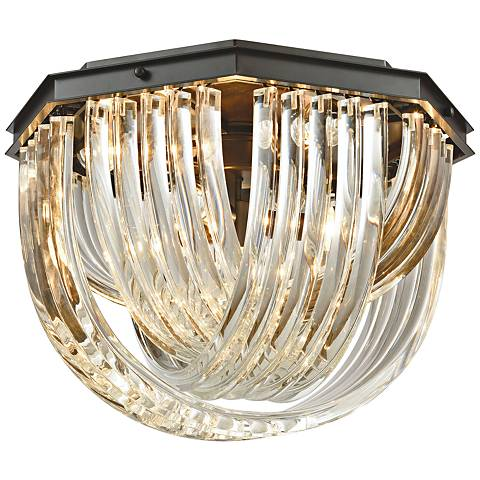 "Optalique 20"" Wide Bronze and Crystal Ceiling Light"