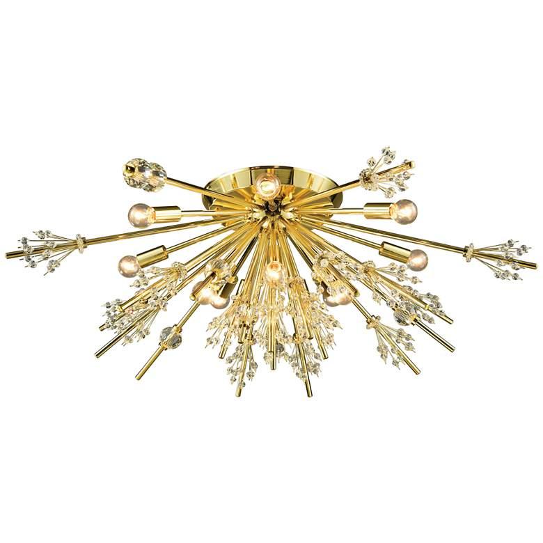 """Starburst 34"""" Wide Polished Gold 12-Light Ceiling Light"""