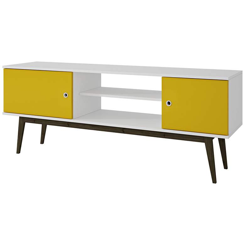 """Salem 59"""" Wide White and Yellow Wood 2-Door TV Media Stand"""