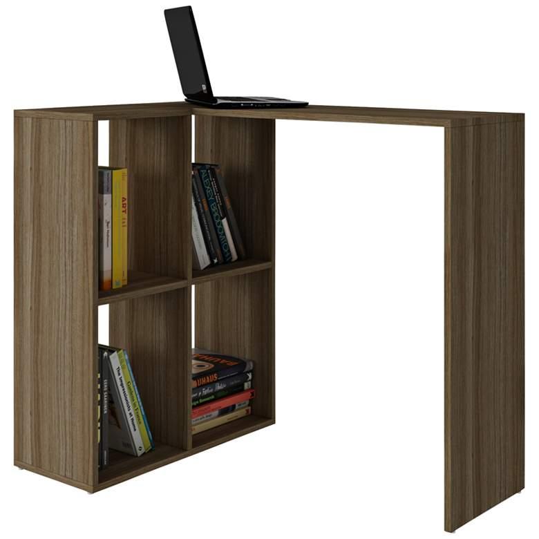 "Pescara 35 1/2"" Wide Oak Wood Modern Cubby Shelves and Desk"