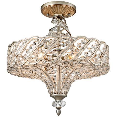 "Cumbria 17"" Wide Aged Silver 6-Light Twist Ceiling Light"