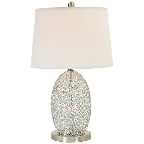 Lucito Chrome and Crystal Table Lamp with Night Light
