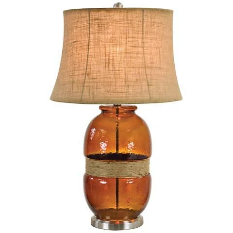 Tannehill Jute Twine Dark Amber Glass Table Lamp