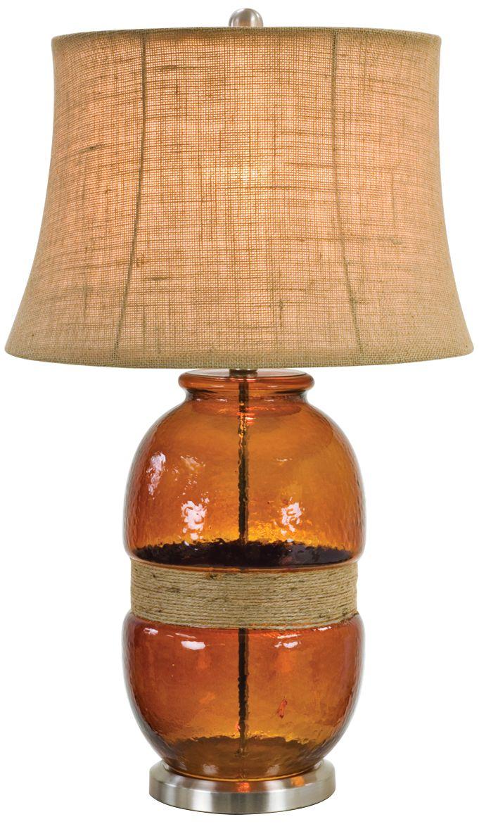 Incroyable Tannehill Jute Twine Dark Amber Glass Table Lamp