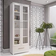 """Serra 71 3/4"""" High White Wood Glass Doors Bookcase"""