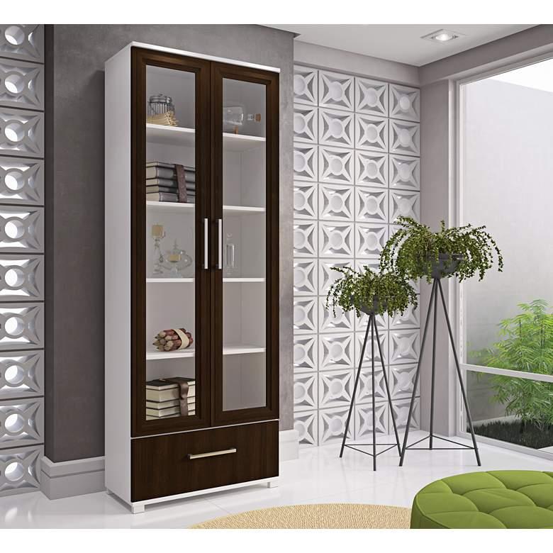 "Serra 71 3/4"" High White and Wood Glass Doors Bookcase"