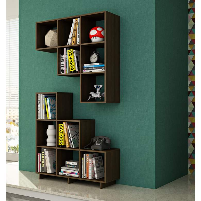 """Cascavel 36 1/4"""" Wide Tobacco Modern Bookcases - Set of 2"""