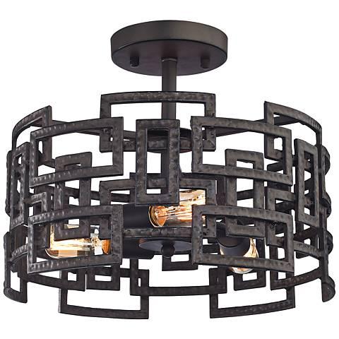 "Garriston 16"" Wide Clay Iron 3-Light Ceiling Light"