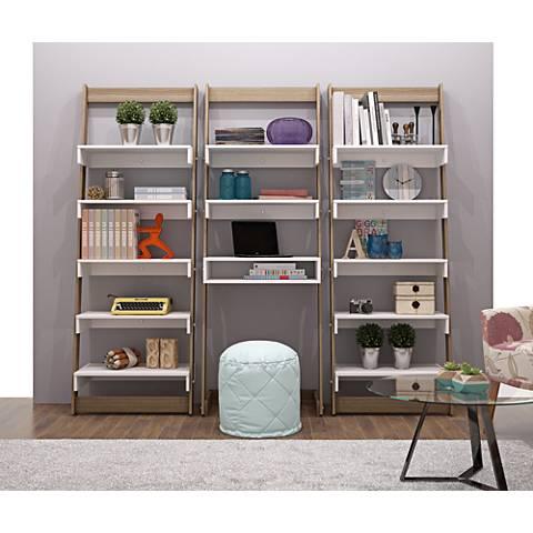 Carpina Home Oak White 3-Piece Ladder Shelf Office Desk Set