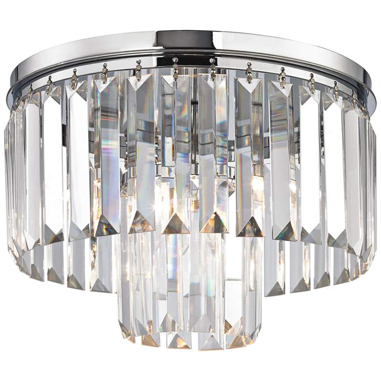 """Palacial 12"""" Wide Chrome and Crystal Glass Ceiling Light"""