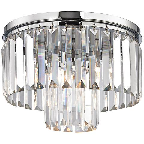 "Palacial 12"" Wide Chrome and Crystal Glass Ceiling Light"