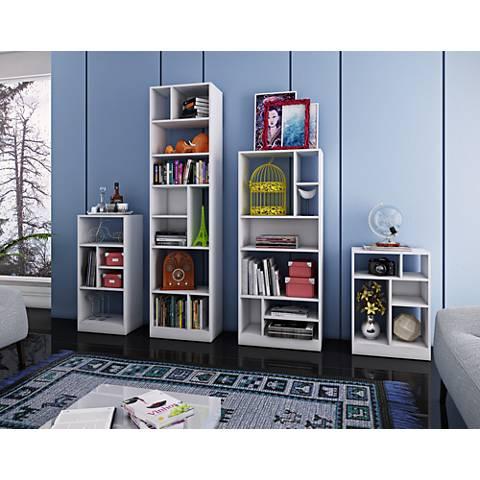 Valenca White Wood 4-Piece Bookcase Set