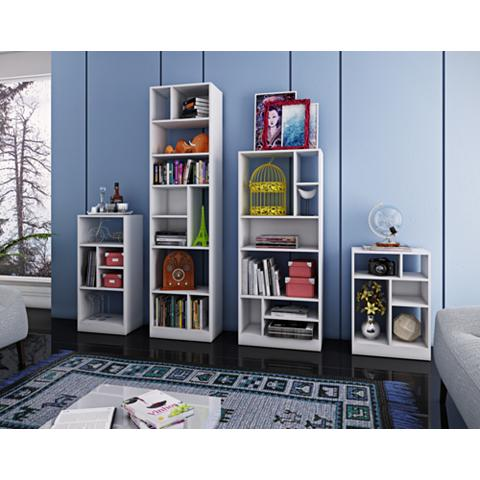 Valenca White Wood 4-Piece Bookcase Set