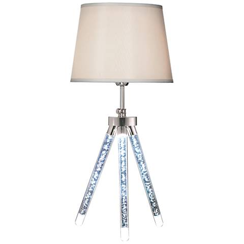 Vespucci Sand Chrome Tripod LED Table Lamp with Night Light