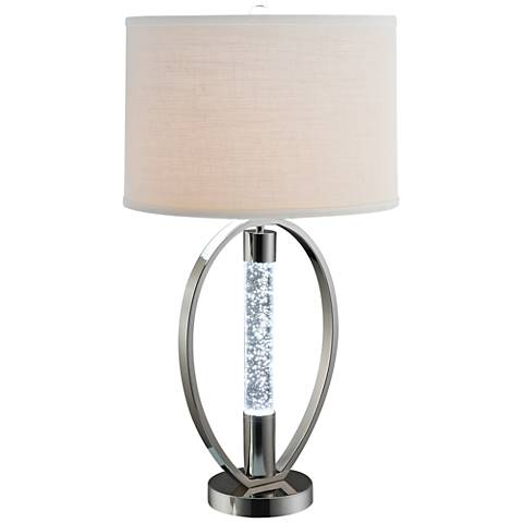 Dara Nickel Round LED Table Lamp with Night Light