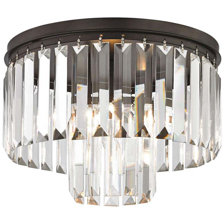 """Palacial 12"""" Wide Bronze and Crystal Glass Ceiling Light"""