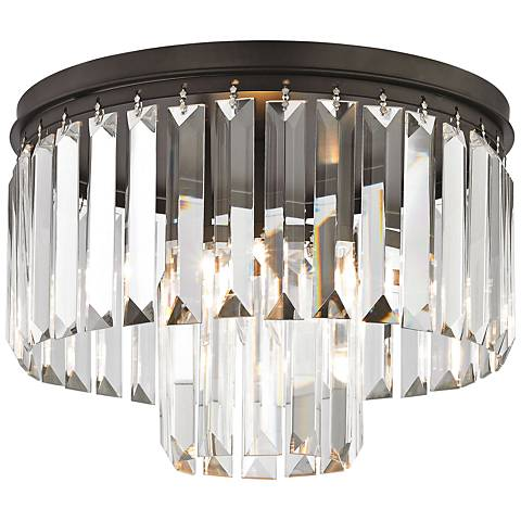 "Palacial 12"" Wide Bronze and Crystal Glass Ceiling Light"