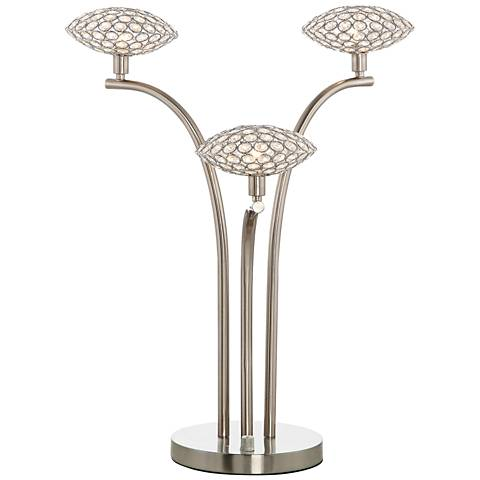 Treo Sand Chrome and Crystal 3-Light Table Lamp