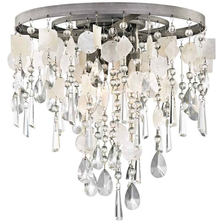 "Alexandra 14"" Wide Zinc and Capiz Shell Ceiling Light"