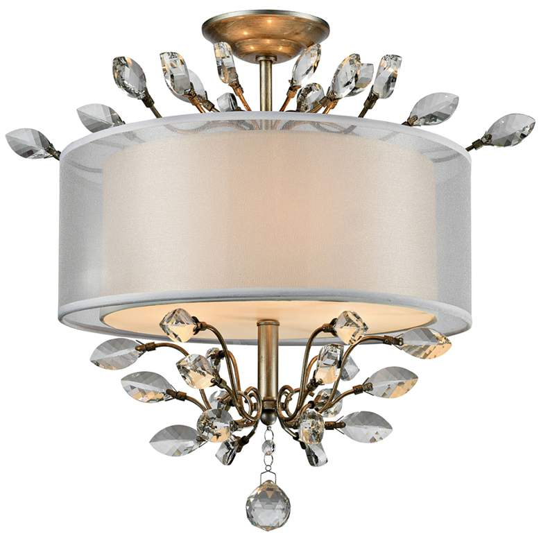"""Asbury 19"""" Wide Aged Silver 3-Light Ceiling Light"""