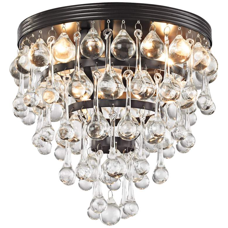 "Ramira 10"" Wide Bronze and Clear Glass 3-Light Ceiling Light"