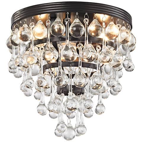 "Ramira 10"" Wide Bronze and Clear Glass 3-Light Ceiling Light"