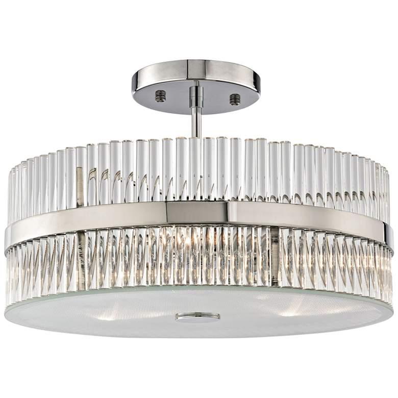 "Nescott 14"" Wide 3-Light Chrome and Crystal Ceiling Light"