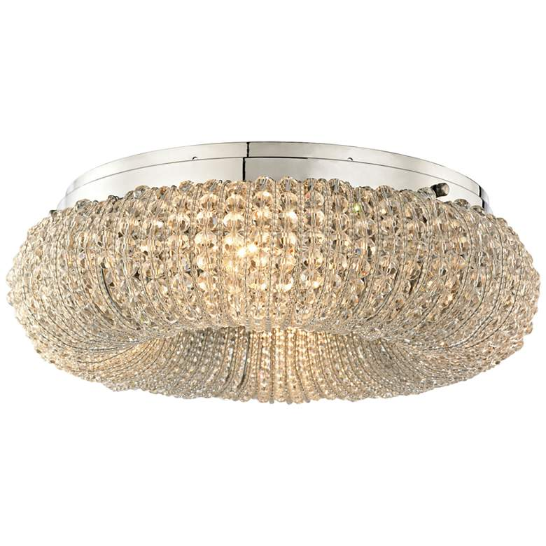 """Crystal Ring 13"""" Wide Polished Chrome 4-Light Ceiling"""