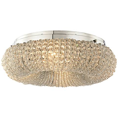 "Crystal Ring 13"" Wide Polished Chrome 4-Light Ceiling Light"