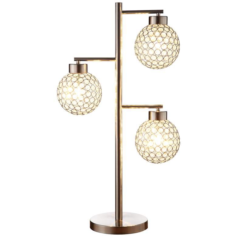 Canton Chrome and Crystal 3-Light Table Lamp