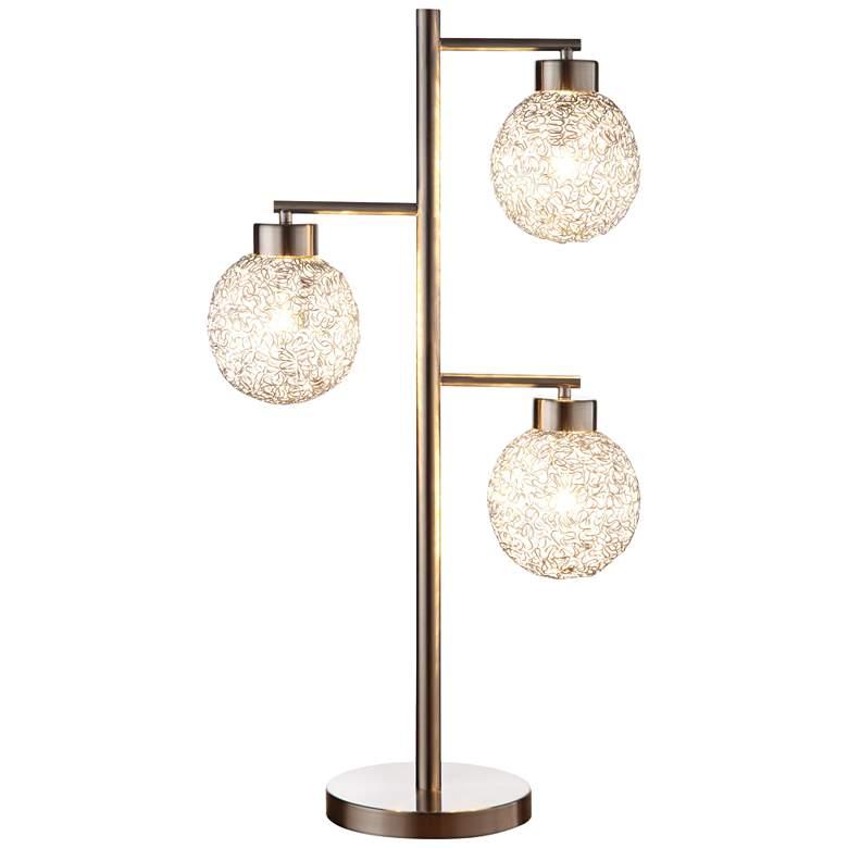 Canton Sand Chrome 3-Light Table Lamp