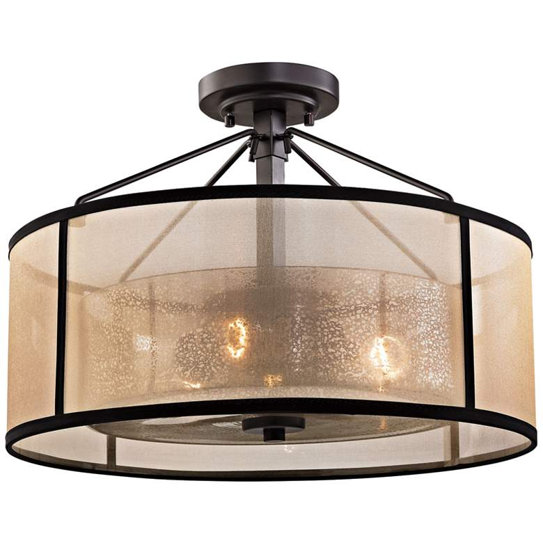 """Diffusion 18"""" Wide Oil Rubbed Bronze 3-Light Ceiling Light"""