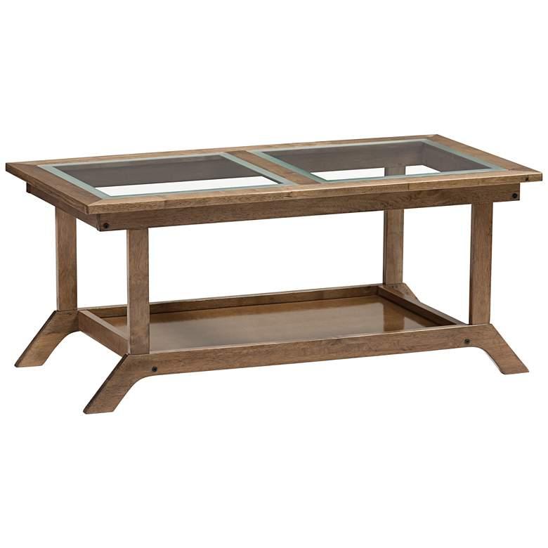 "Cayla 40 1/2"" Wide Glass Top Walnut Brown Wood Coffee Table"