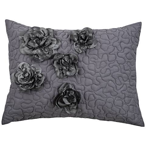 Enchanted Hand-Embroidered Gray Quilted King Pillow Sham